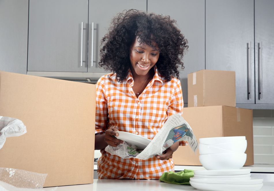 Woman moving into a new apartment