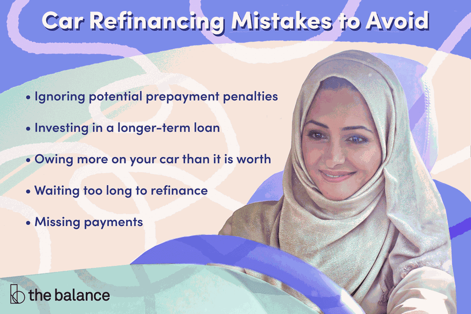 car refinancing mistakes to avoid: ignoring potential repayment penalties, investing in a longer-term loan, owing more on your car than it is worth, waiting too long to refinance, and missing payments