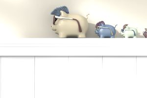 A large piggybank on a shelf with several smaller piggybanks, representing having multiple savings accounts.