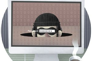 Password typed over the masked face of thief on computer monitor