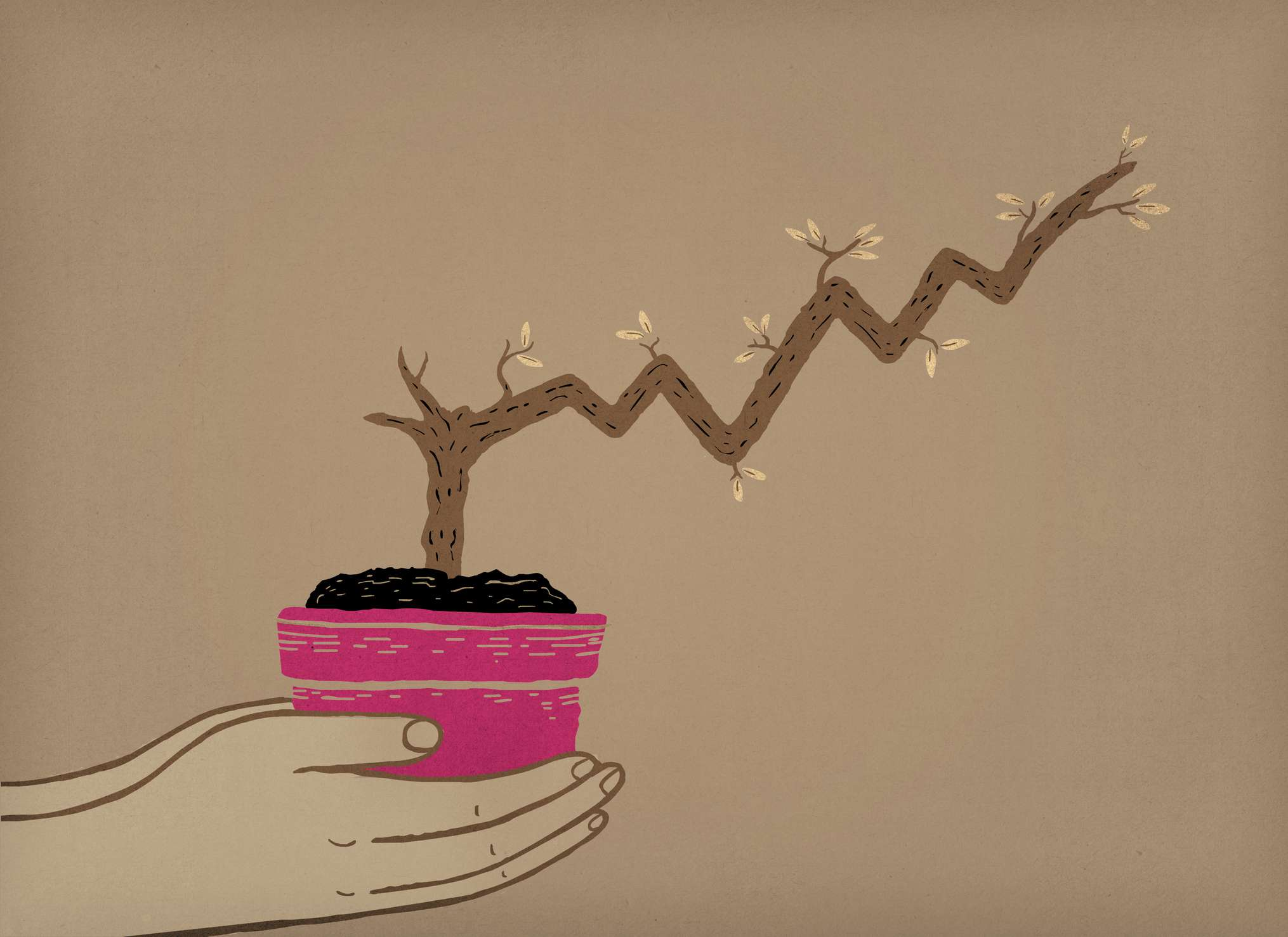 Illustration of person's hands holding a pot containing a plant growing in the shape of an investment chart.