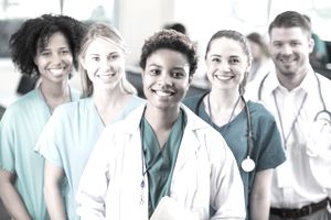 Five Medical Students Standing Together