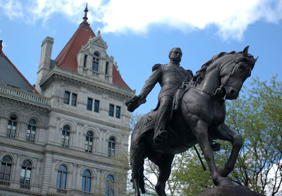 General Sheridan statue with State Capitol, Albany