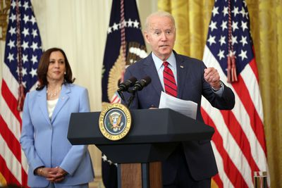 WASHINGTON, DC - JUNE 24: U.S. President Joe Biden delivers remarks alongside Vice President Kamala Harris on the Senate's bipartisan infrastructure deal at the White House on June 24, 2021 in Washington, DC. Biden said both sides made compromises on the nearly $1 trillion infrastructure bill
