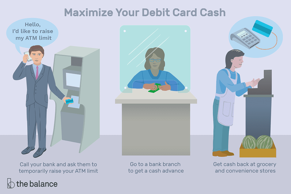 Custom illustration showing showing how to maximize debit card cash