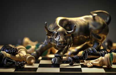 Charging Bull on Chess Board