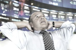 Hispanic businessman at stock exchange