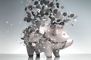 An exploding piggy bank