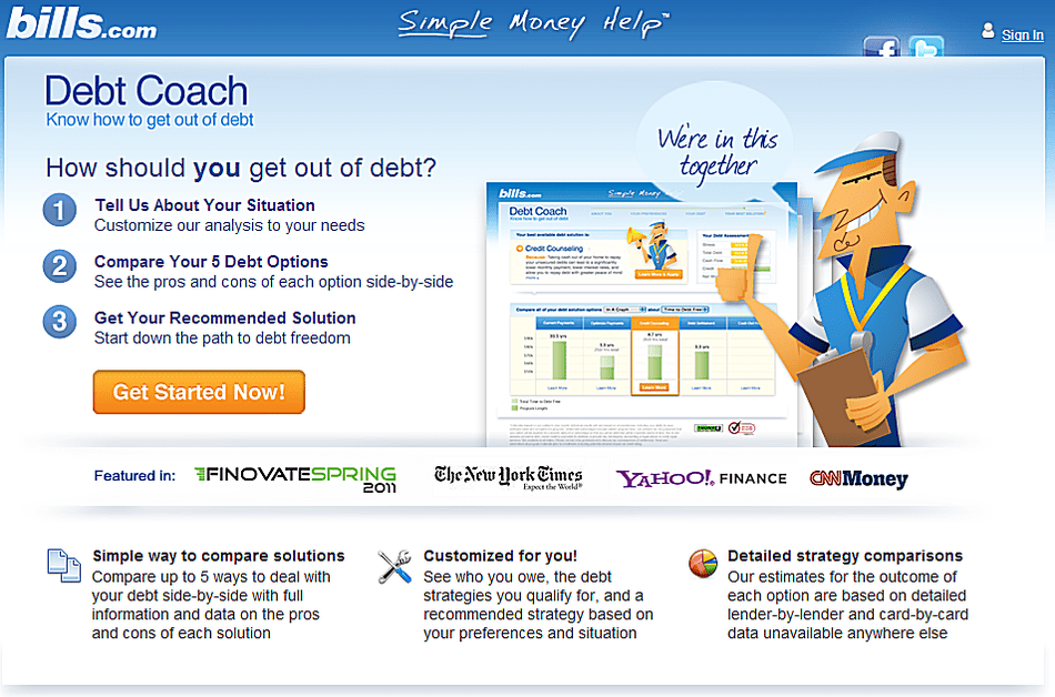 Debt Coach home screen.