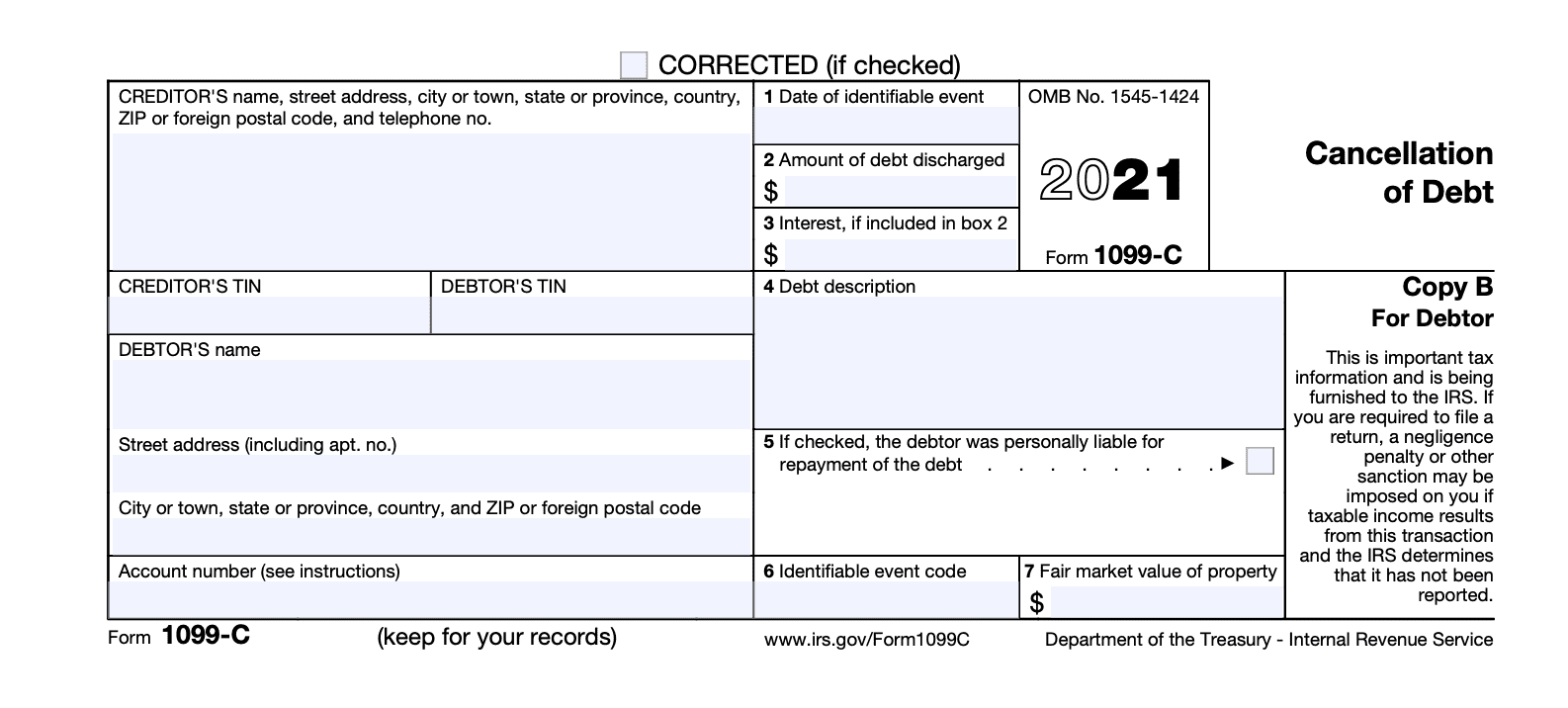 IRS Form 1099-C Cancellation of Debt