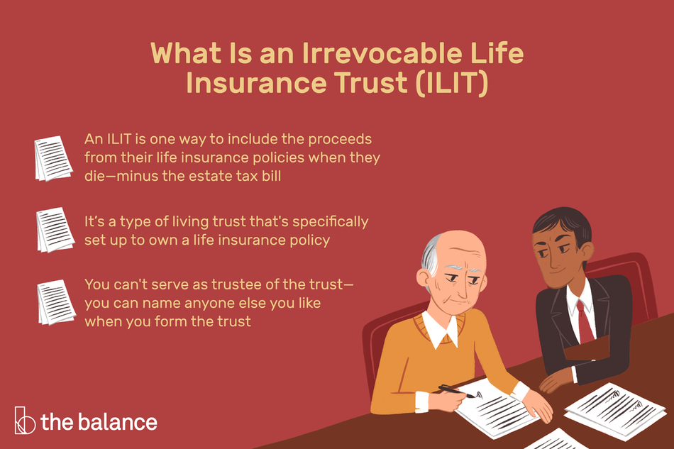 "Image shows two people going over an ILIT. Text reads: ""What is an irrevocable life insurance trust (ILIT): an ILIT is one way to include the proceeds from their life insurance policies when they die—minus the estate tax bill. It's a type of living trust that's specifically set up to own a life insurance policy; You can't serve as a trustee of the trust—you can name anyone else you like when you form the trust"""