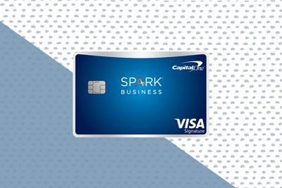 The Capitol One Spark Miles select Business credit card on a two-tone background