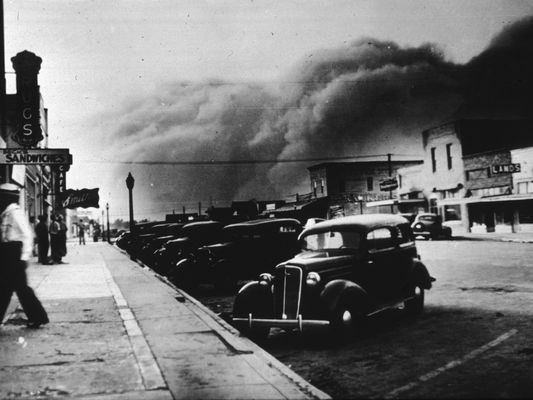 A dust storm rolls into Elkhart, Kansas, on May 21, 1937.