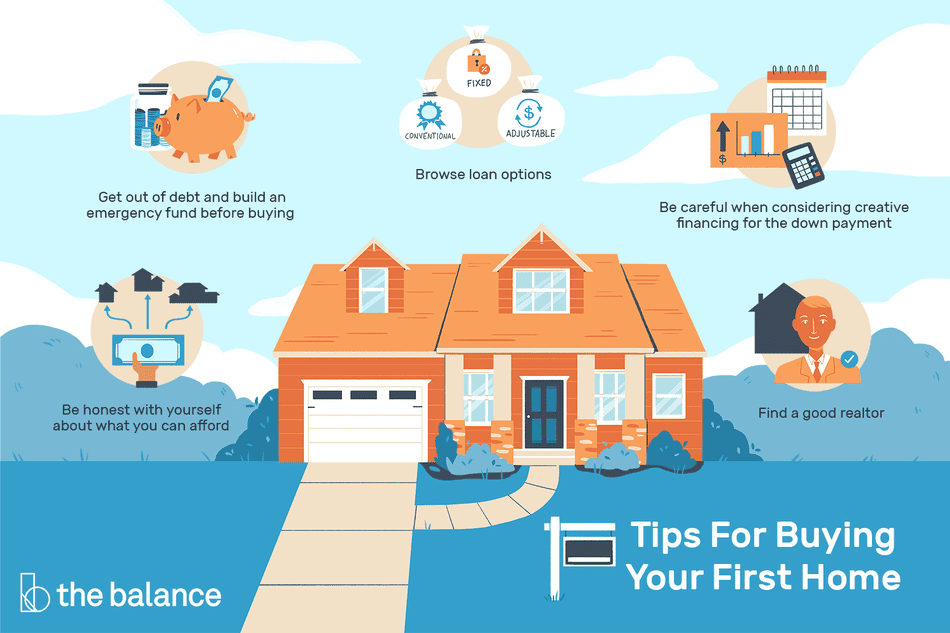 Tips for buying your first home: Get out of debt and build an emergency fund before buying Browse loan options Be careful when considering creative financing for the down payment Be honest with yourself about what you can afford Find a good realtor