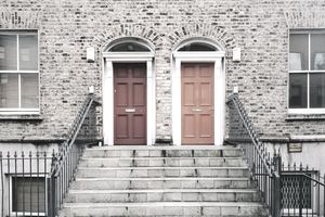 Two identical red doors in Dublin, Ireland
