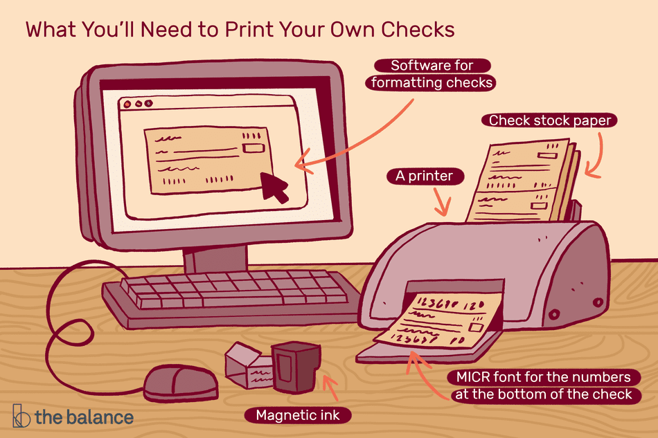 Custom illustration of home check printing setup