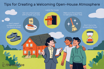 Tips for creating a welcoming open-house atmosphere: Don't expect prospective buyer to remove shoes Set out a food spread with a thank-you note Leave the house Make sure the property is neat and clutter-free Don't hurry the prospective buyer
