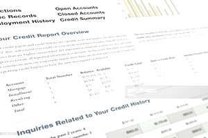 A sample credit report shows open accounts and their balances
