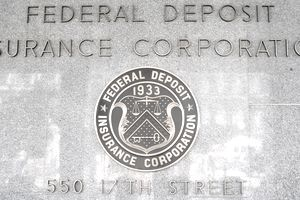 Seal of the FDIC, the government agency responsible for insuring bank deposits.