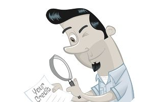 A cartoon man examining his credit report