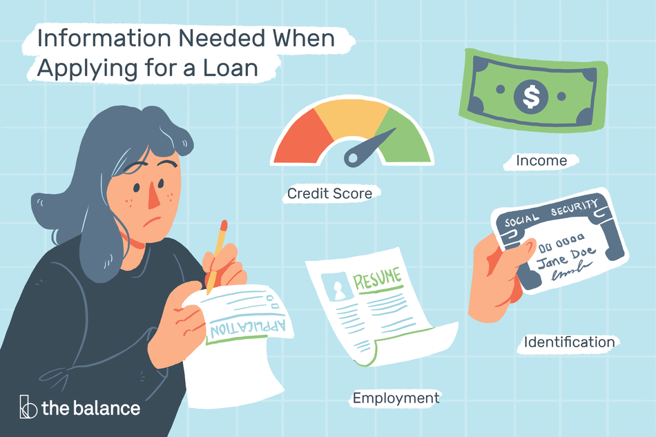 Illustration of the information needed when applying for a loan, explained in article.