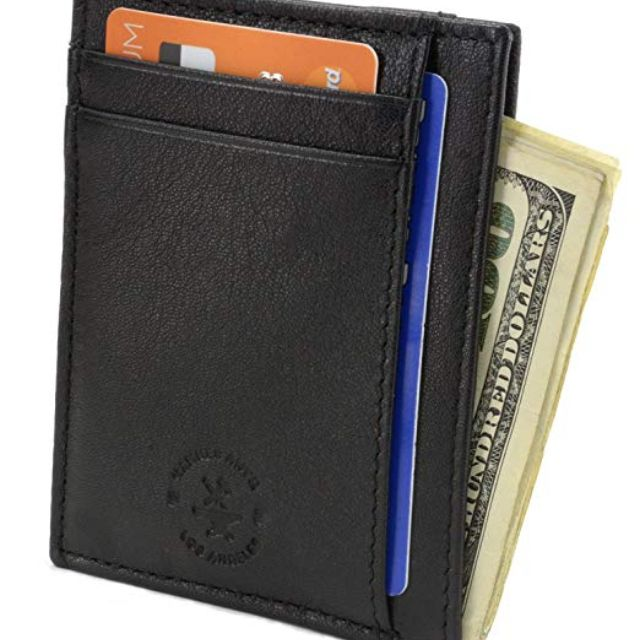 Mens Leather Front Pocket Wallet Slim Two Pockets USA Made
