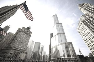 American Flag Blowing in Wind on a Chicago Builing