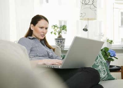 Trouble at computer - stock photo