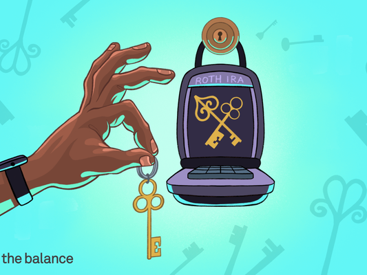 """Image shows a hand holding up a key to a keypad and lock with """"Roth IRA"""" written on it."""