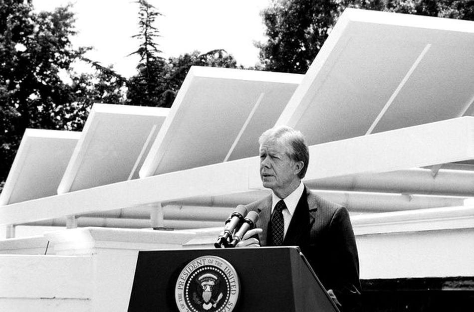 Jimmy Carter Speaking on West Wing Roof