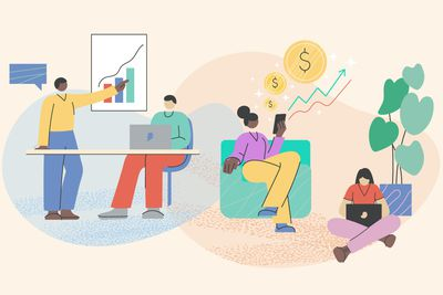An illustration showing different folks taking action to improve their finances.