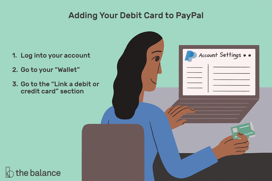 "Image shows a woman at her computer working on paypal and holding a credit card. Text reads: ""Adding your debit card to paypal: log into your account; go to your 'wallet'; go to the 'link a debit or credit card' section"""
