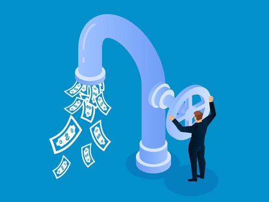 Illustration of man opening faucet valve to control money outflow.