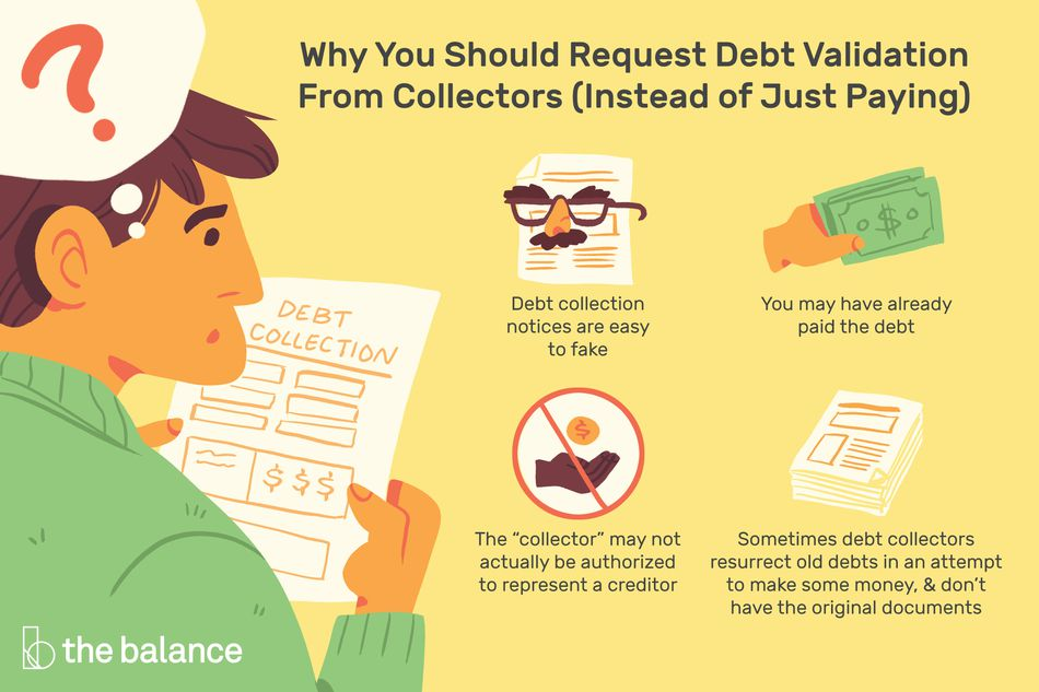 "Image shows why you should request a debt validation from collectors instead of just paying a debt: Debt collection notices are easy to fake. You may have already paid the debt. The ""collector"" may not actually be authorized to represent a creditor. Sometimes debt collectors resurrect old debts in an attempt to make some money, and don't have the original documents"