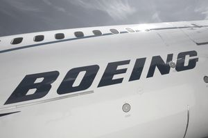 Boeing logo on the side of a plane