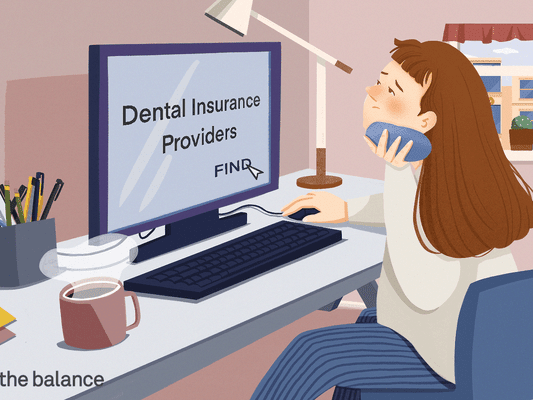 "Image shows a woman sitting at her computer holding an ice pack to her jaw. On the screen reads: ""dental insurance providers"" and she is clicking her cursor over a button that says ""find"""