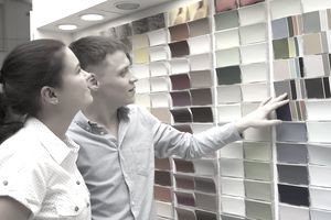 Couple selecting paint colors