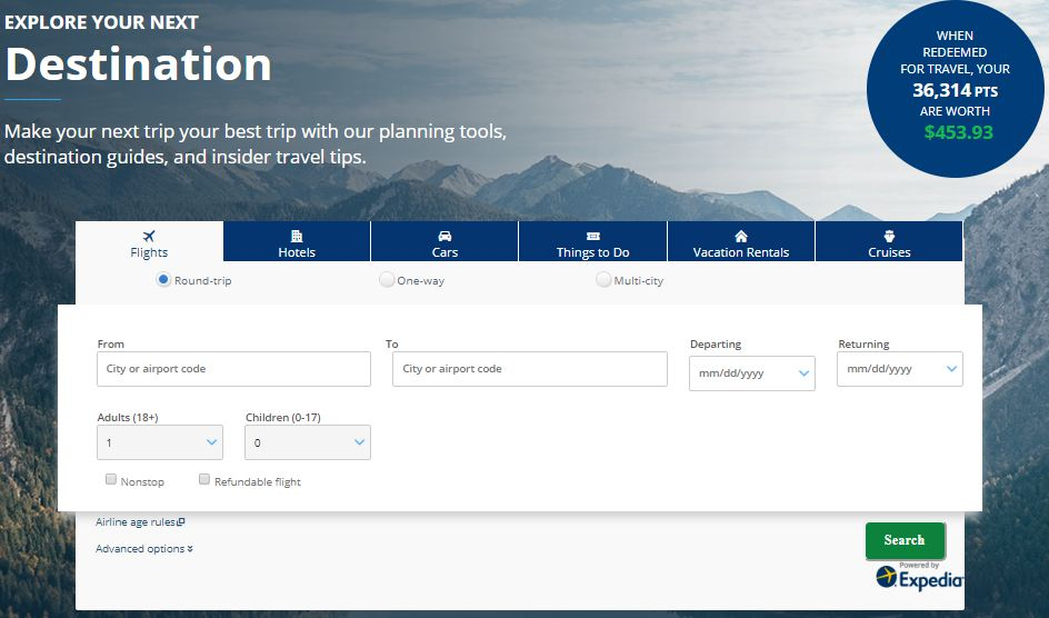 Chase Ultimate Rewards travel reservation search tool