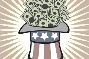 Uncle Sam's top hat filled with currency to represent government spending.