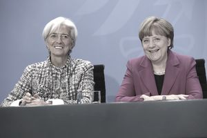 IMF Director Christine LaGarde and German Chancellor Angela Merkel