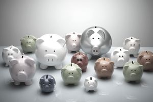 Piggy banks of various colors and sizes