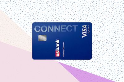 The U.S. Bank Altitude Connect credit card on a tricolor pastel background.