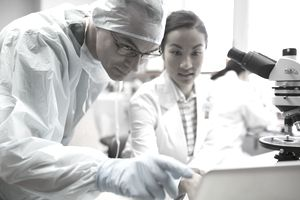 Two scientists working in a laboratory