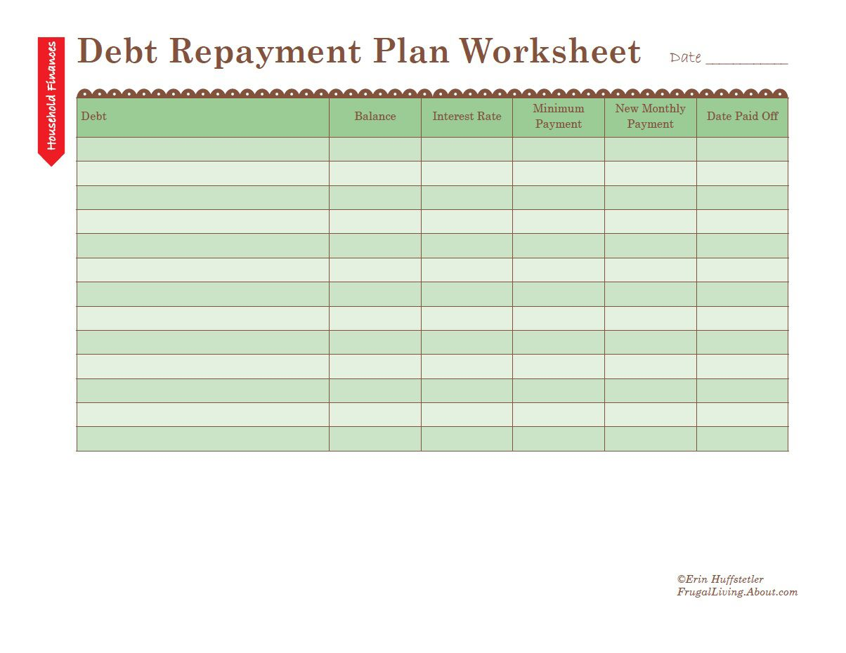 how to use a debt repayment plan worksheet