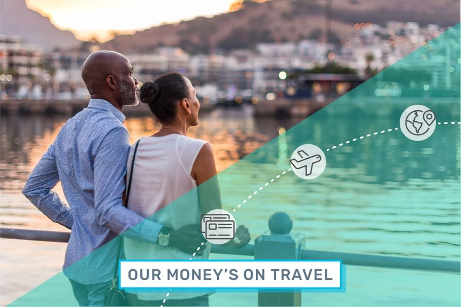 A couple enjoys a trip paid for with travel rewards.