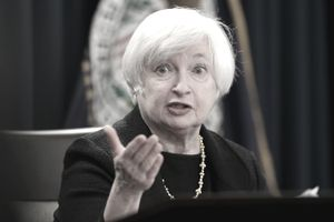 Former Federal Reserve Board Chairwoman Janet Yellen answers questions at a news conference