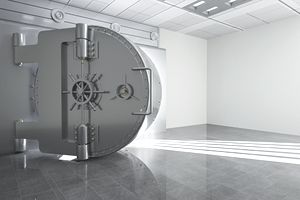 An open vault door at an investment bank