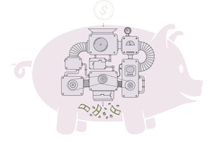 illustration of the insides of a piggy bank showing industrial components breaking down a coin and producing cash