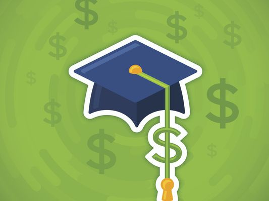 Illustration of graduation cap with dollar sign as tassle