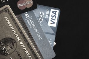 Different brands of credit cards fanned out